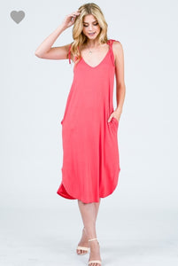 Coral Tie Dress