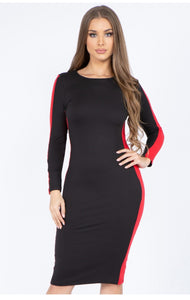 Racing Stripe Black and Red Dress