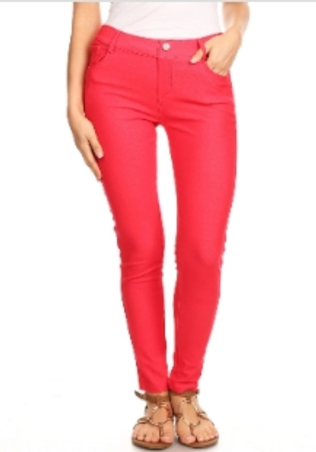 Denim Jeggings White Or Red