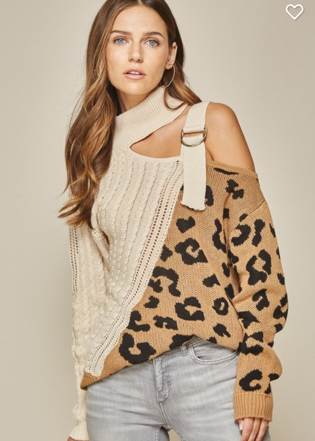 Fall One shoulder Buckle Animal print Sweater