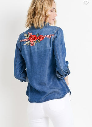 Fall Dark Wash Denim w/ back embroidery