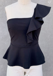 Fall Black One Shoulder Top with Ruffle Detail