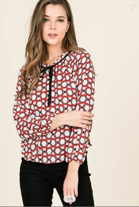Fall Ivory/Red/Black Print Top with Tie collar