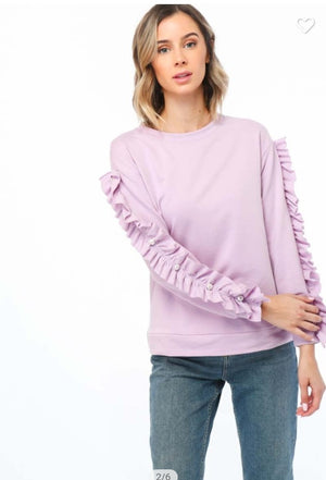 Fall Lilac Long Sleeve sweater with Ruffled Sleeve