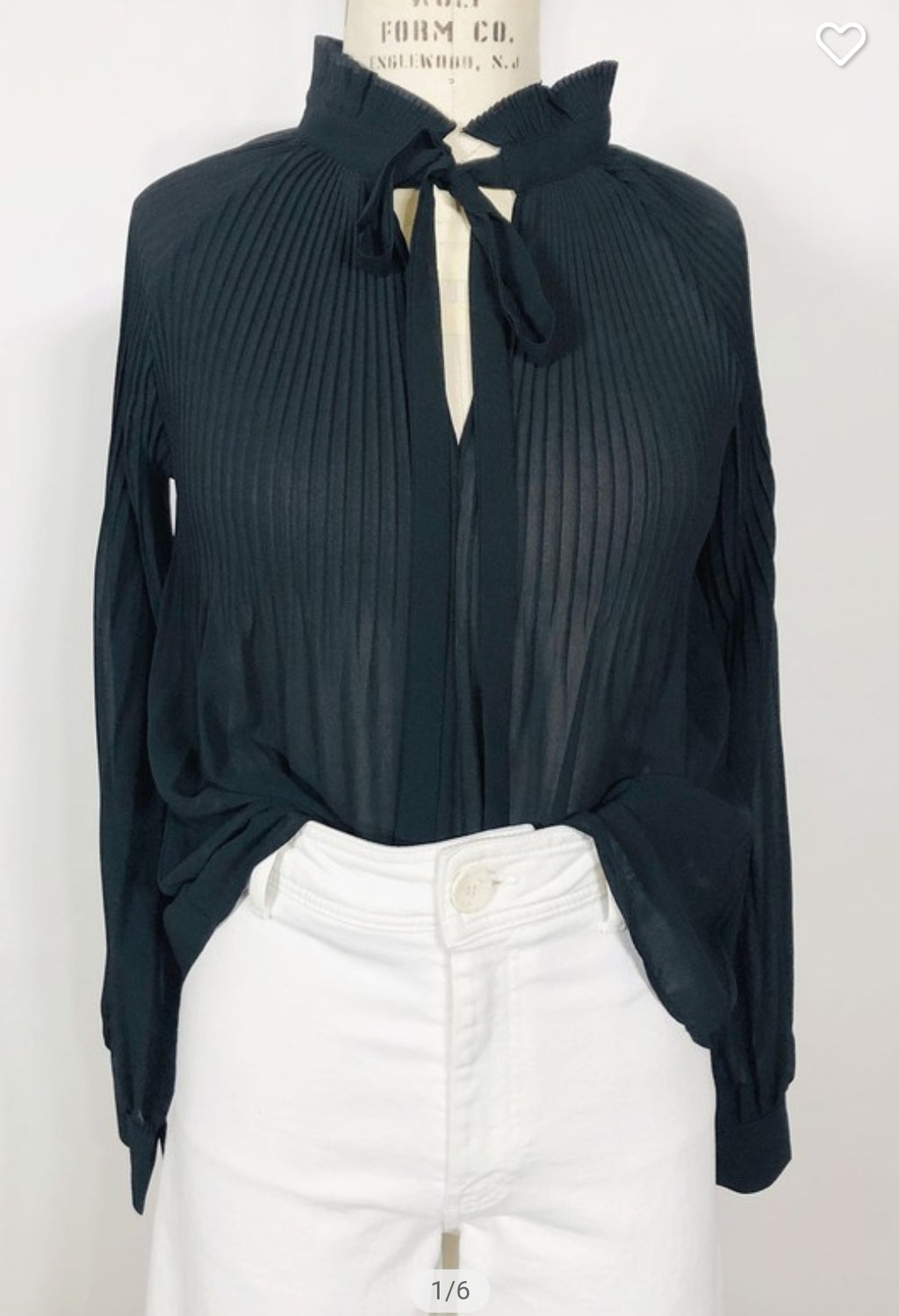 Fall Class Act!  Black Pleated Top with Self Tie