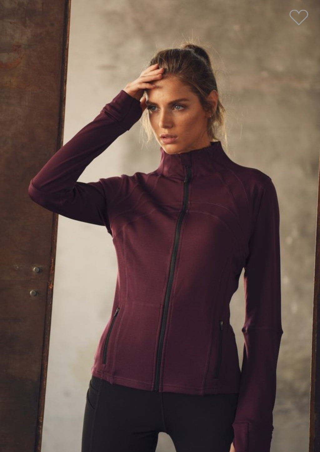 Athleisure  Full Zip-Up Jacket-Wine