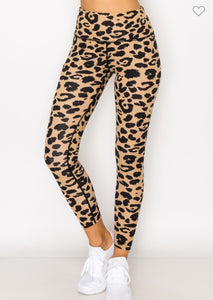 Athleisure Leopard Print Leggings-Brown/Black