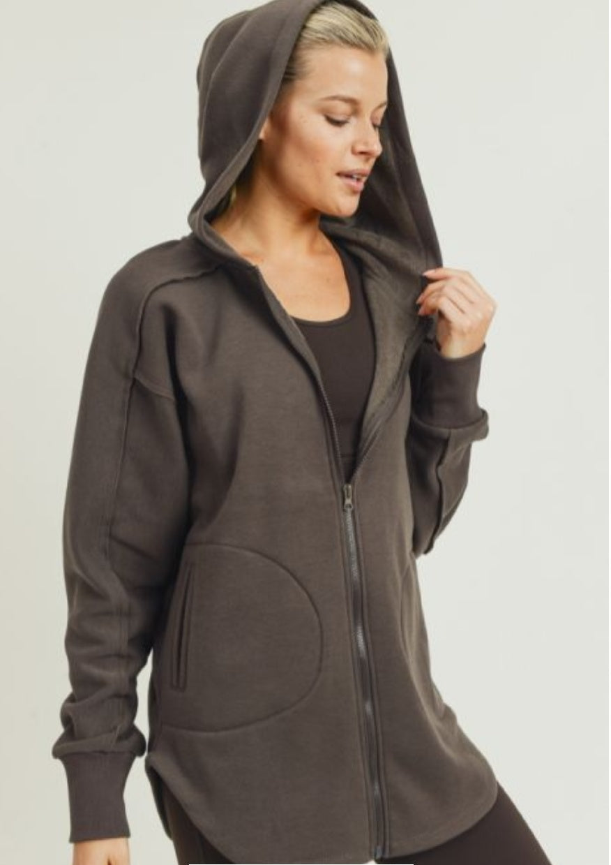 Athleisure Zip Up Hoodie- Coffee