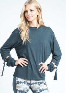 Athleisure Buckled Sleeve Top-Teal