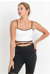 Athleisure Strap Crop Top with Tie Accent-White