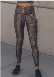 Athleisure-Copperhead Snake Shimmer Foil Leggings