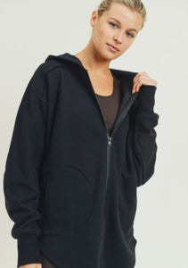 Athleisure Zip Up Hoodie- Black