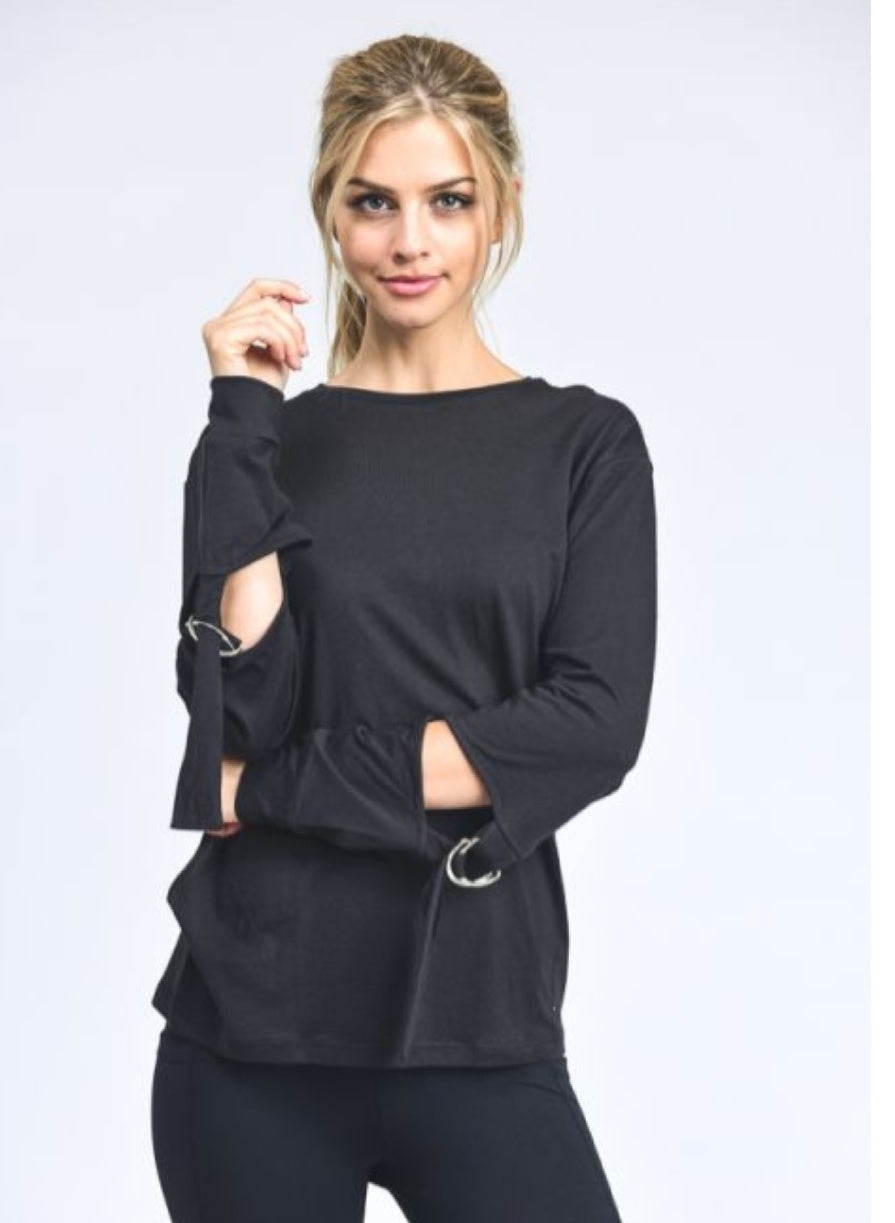 Athleisure Buckled Sleeve Top-Black