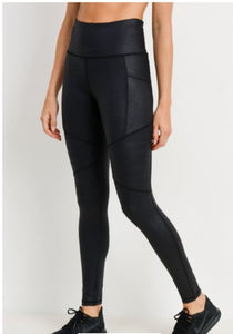 Athleisure- Highwaisted Foil MOTO Leggings-Black