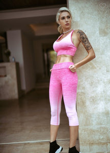 Athleisure Pink Workout Set - Bra and Leggings