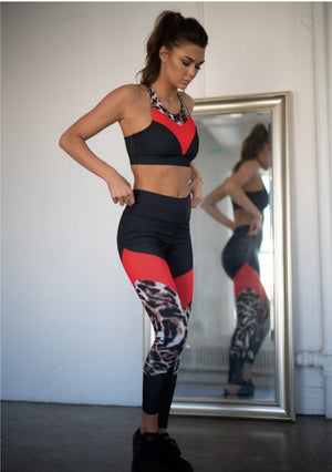 Athleisure Red/Black/Leopard Set, 2 Piece