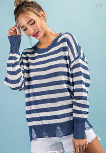 Spring 21 Distressed Sweater-Blue Stripe