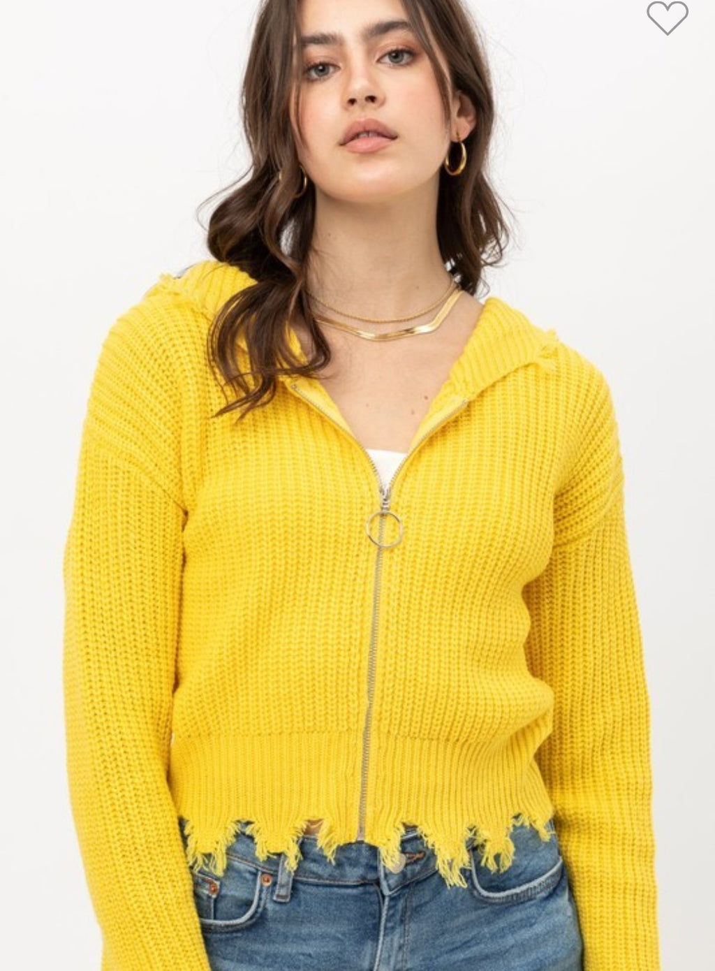 Spring 21 Distressed Zip Up Yellow Sweater
