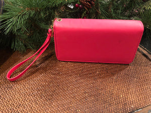 Double zippered wristlet wallet