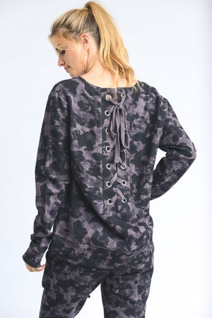 Camo Lace Up Back Sweater