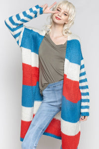 Red White and Blue Spring Cardigan