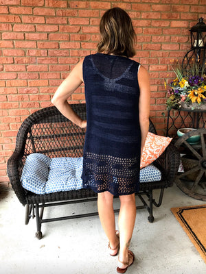 A New Love - Navy Crochet Vest