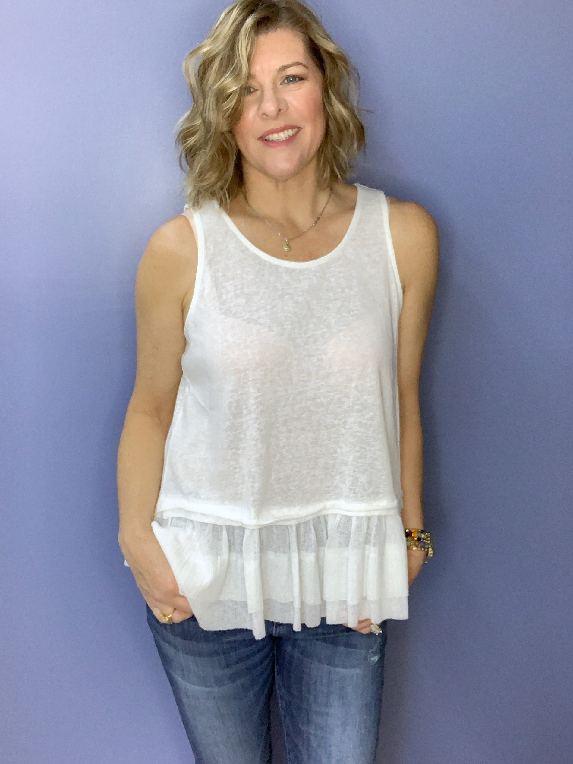 True Love - Ruffled Tank Top / White