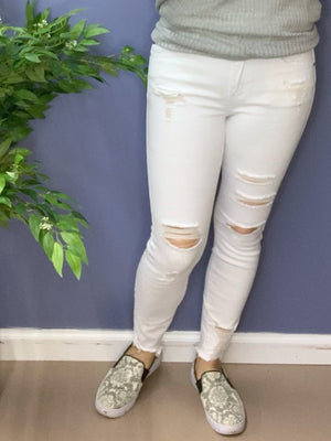 Snow Days - White, Distressed, Ankle Jeans