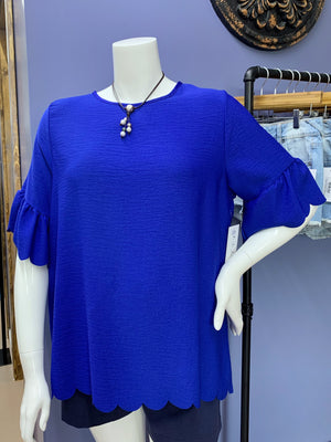 Fancy That (1X-3X) - Blue Scalloped Top