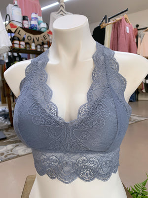 Kristina - Steel Blue Hourglass Back Lace Bralette