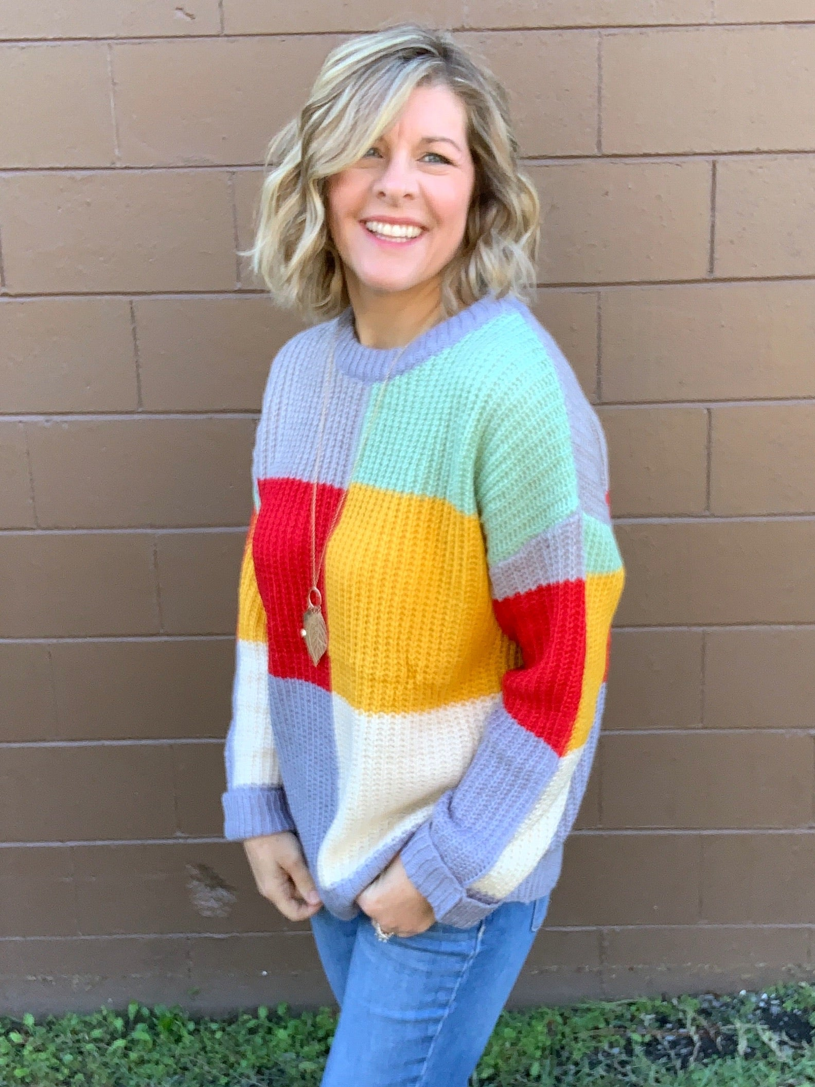 No Worries - Color Block Sweater