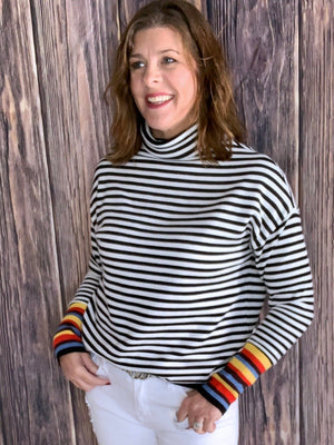 Rockin' Robbin - Striped Sweater w/ Rainbow Sleeves