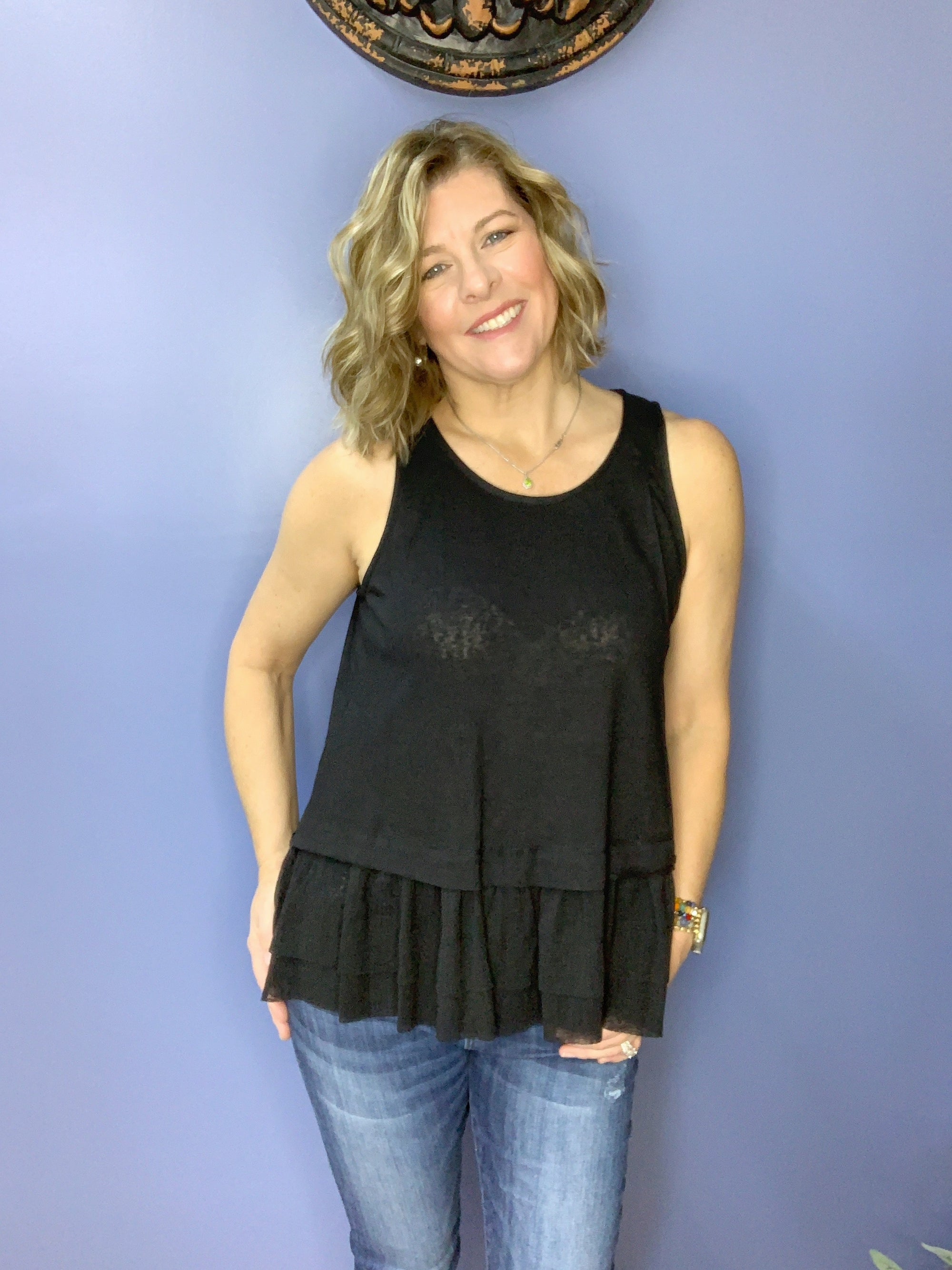 True Love - Ruffled Tank Top / Black