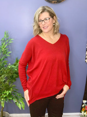 Warm Hearts - Red Hi-Lo Slouchy Sweater