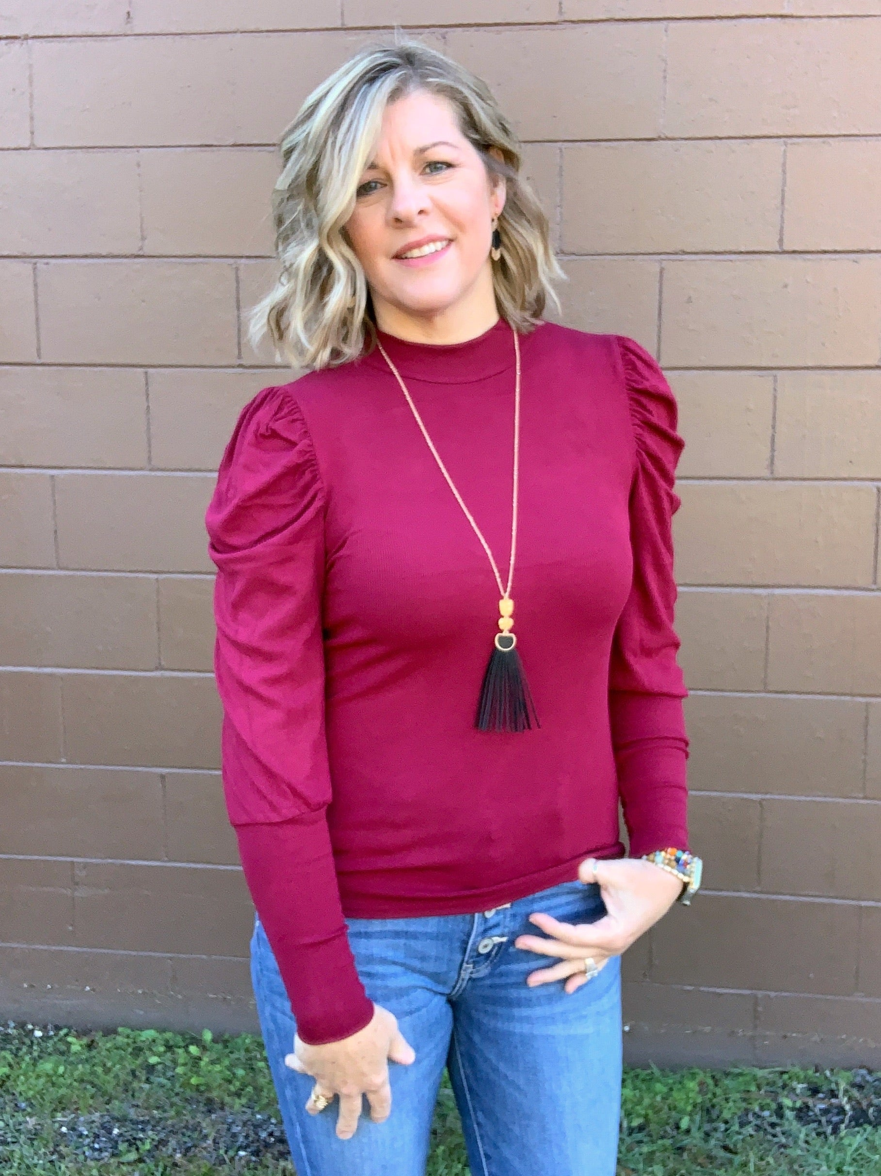 Miss Spoken - Puffed Sleeve Top - Deep Wine