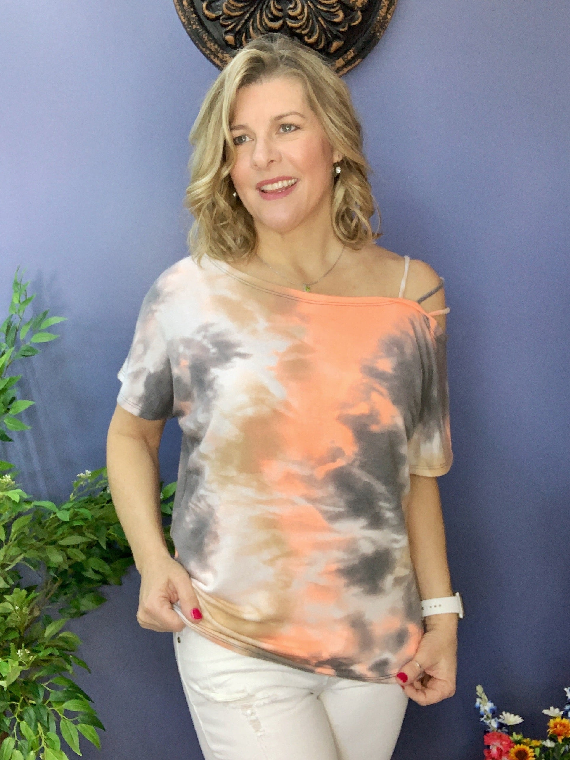 Sunset Beach - Peach Tie-Dyed One Shoulder Top