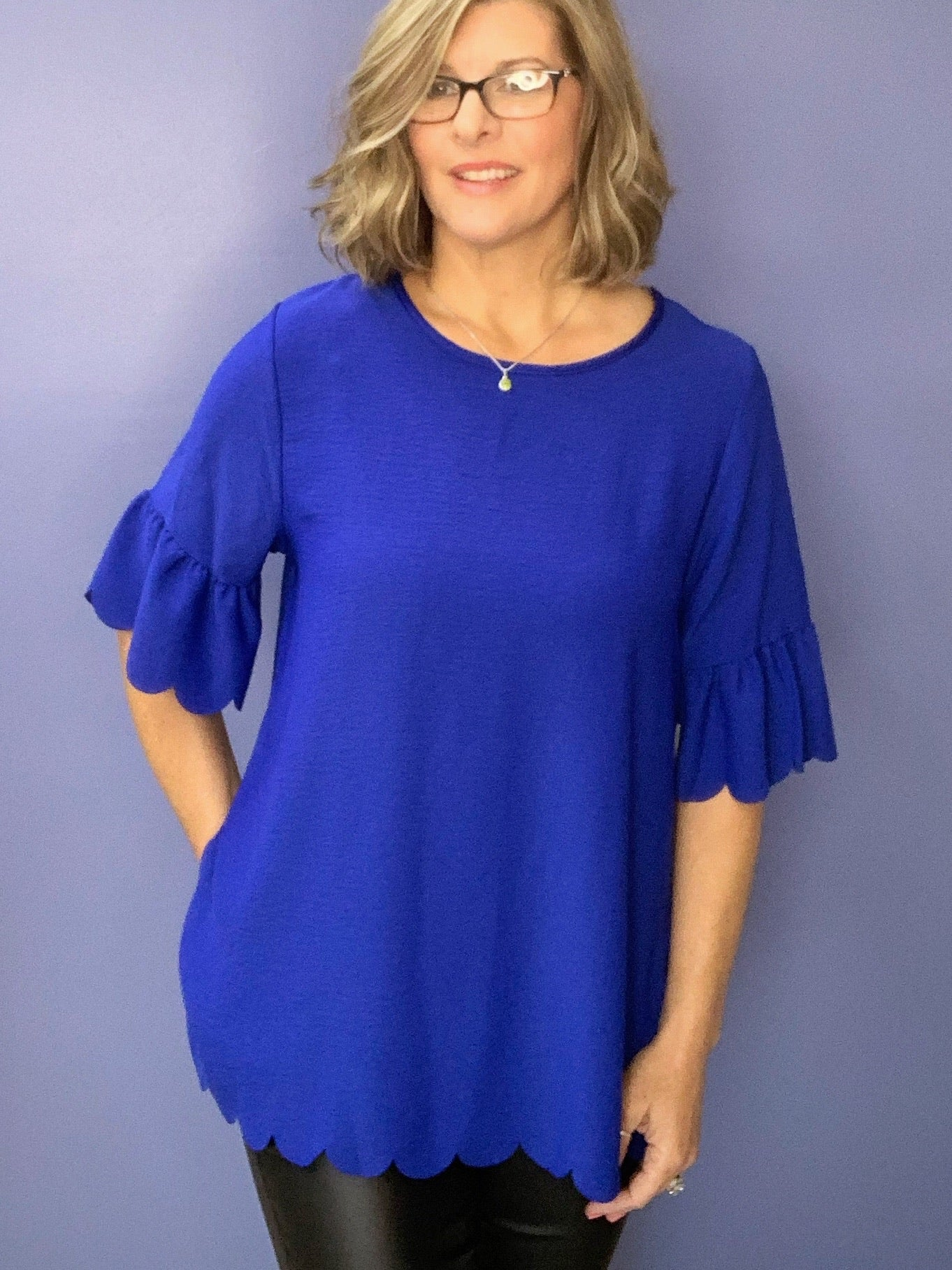 Fancy That (Sm-Lg) - Blue Scalloped Top