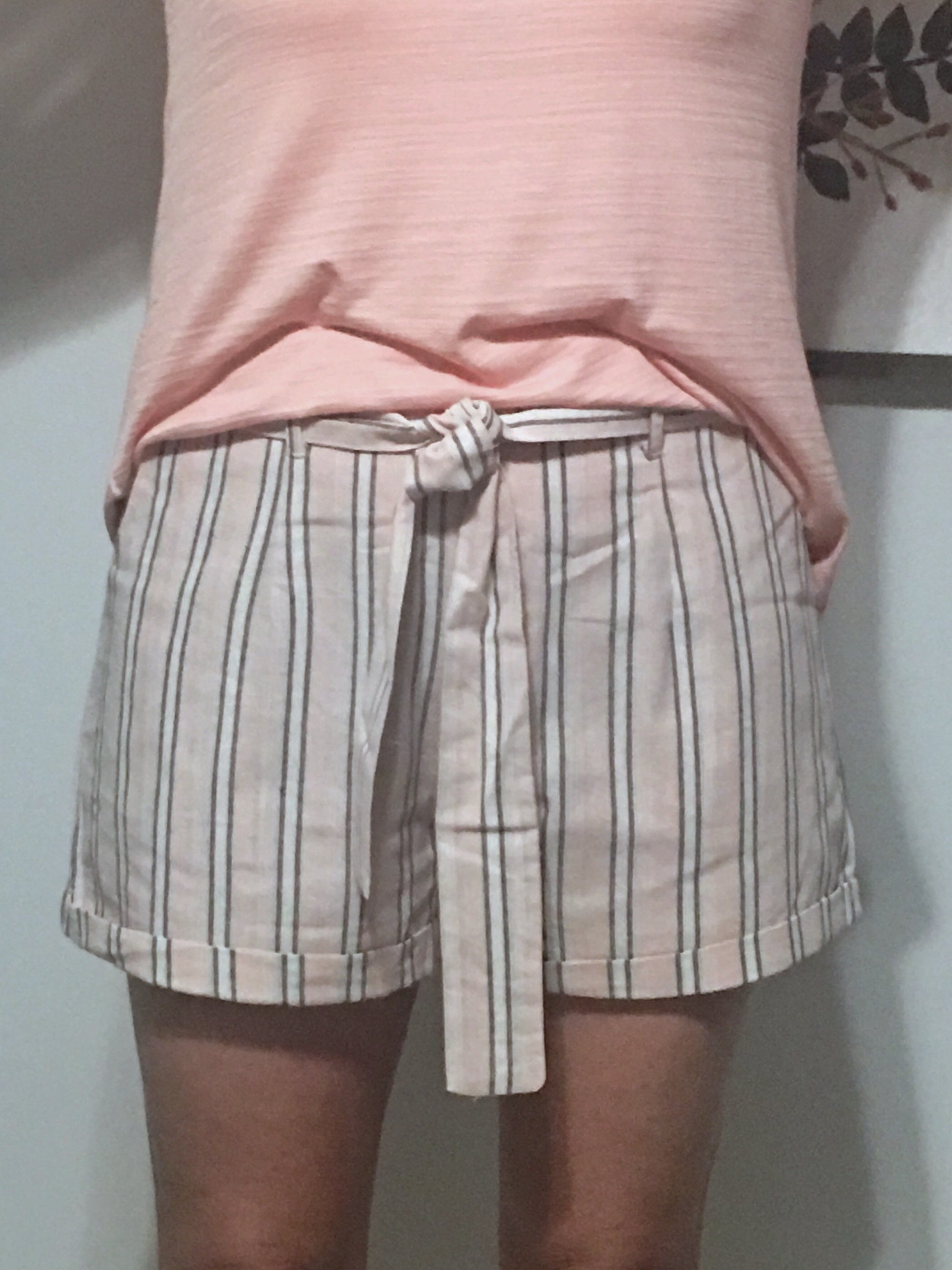 We Belong - Pink & Gray Striped Shorts