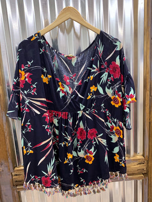 Carli - Navy Floral Blouse XL