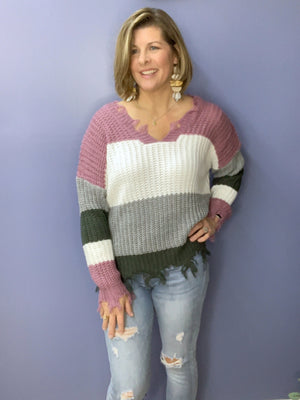Fallin' Apart - Distressed Color Block Sweater
