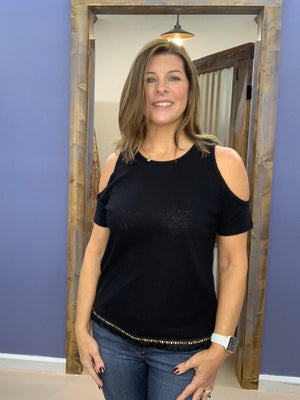 Becca - Black Cold Shoulder Top