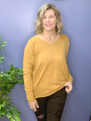Warm Hearts - Mustard Hi-Lo Slouchy Sweater