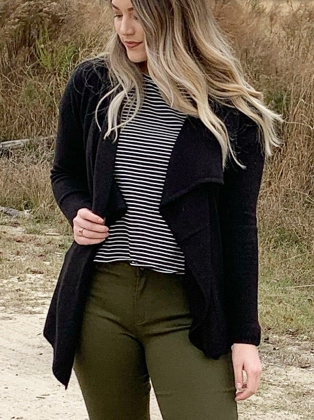 Black Out - black draped cardigan sweater