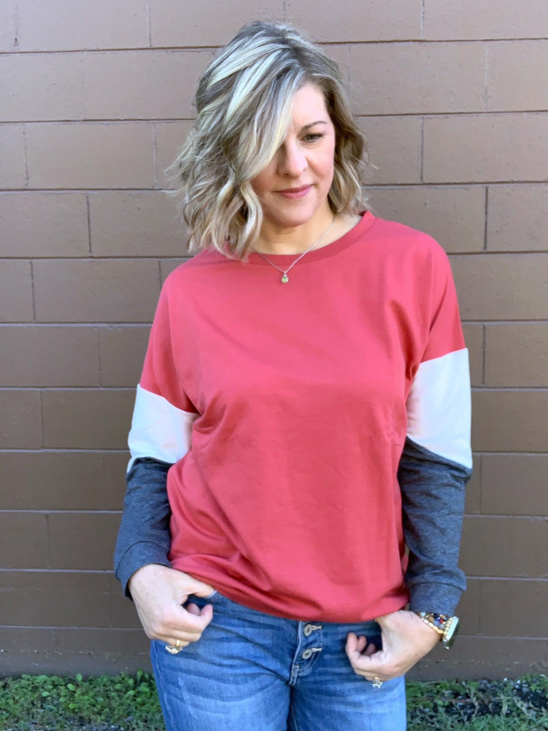 Well Said - Color Block Long Sleeve Top