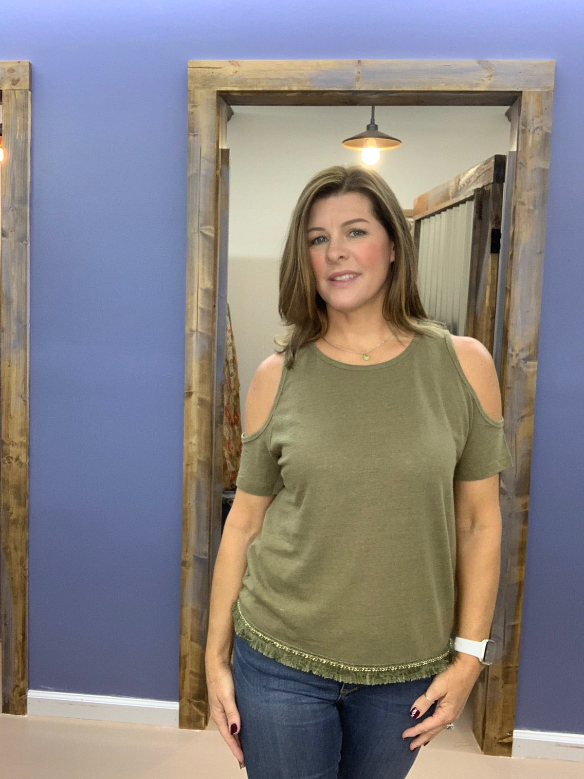 Becca - Olive Cold Shoulder Top