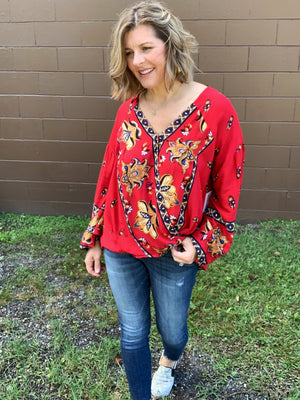 Temptation - Red Floral Blouse