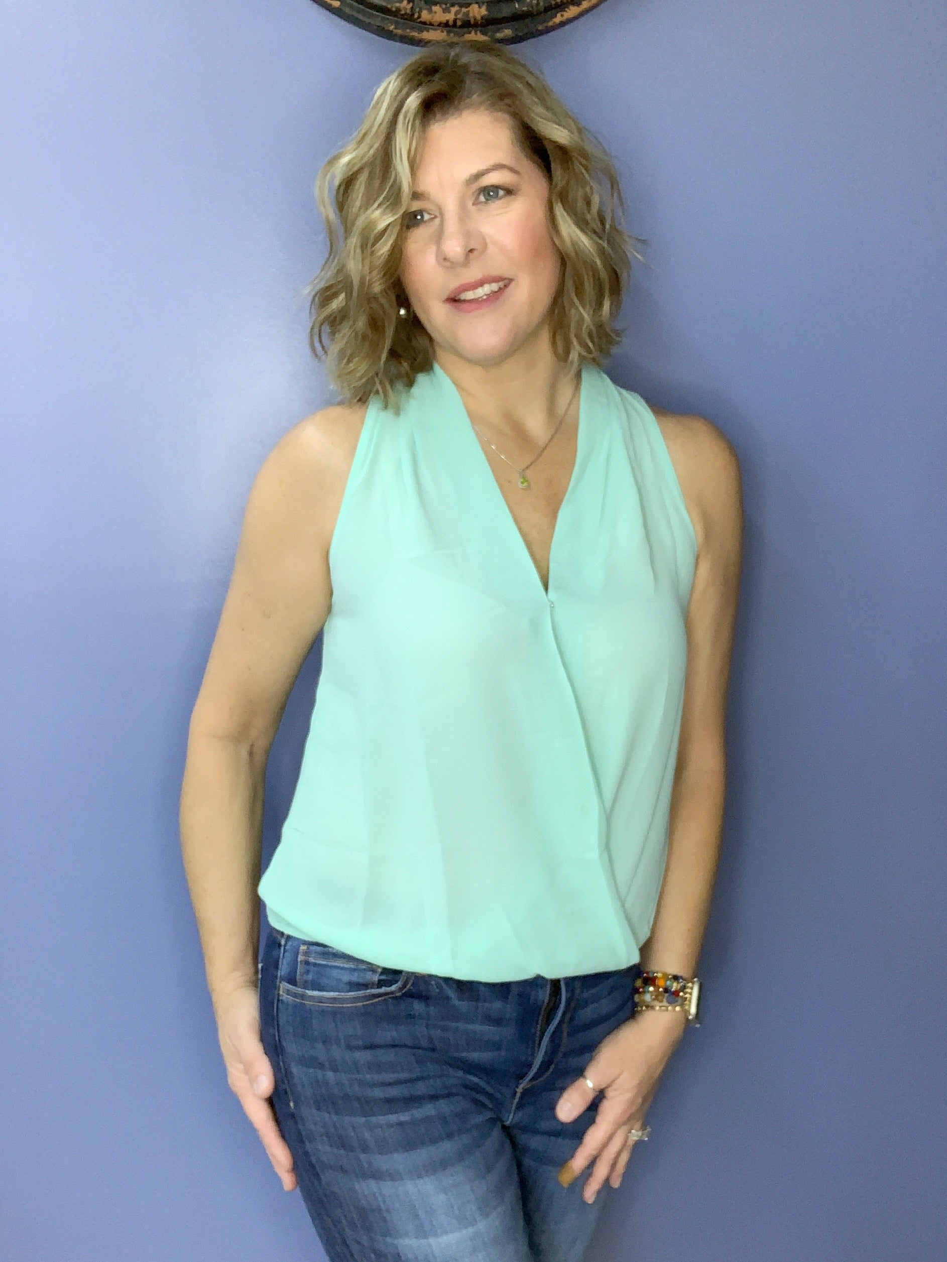 It's a Cinch - Pale Turquoise Surplice Sleeveless Top