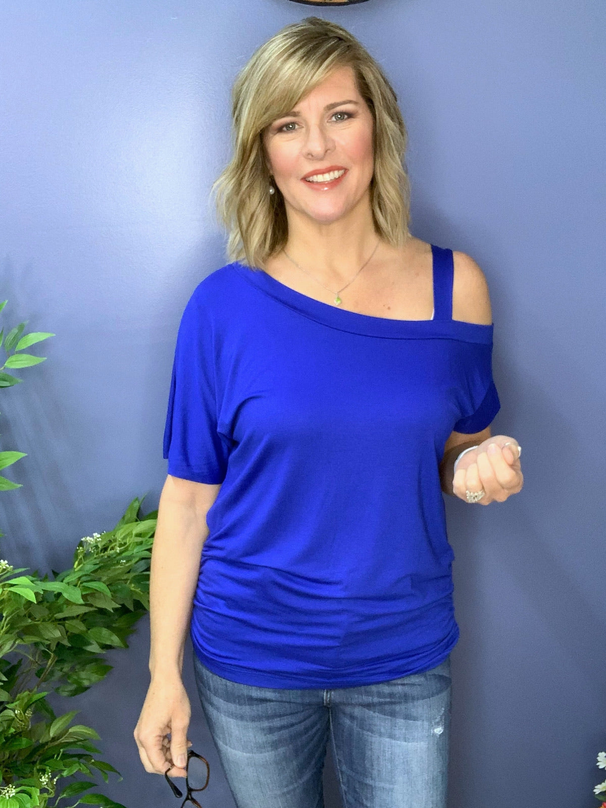 A' La Mode - One Sided Cold Shoulder - Royal Blue