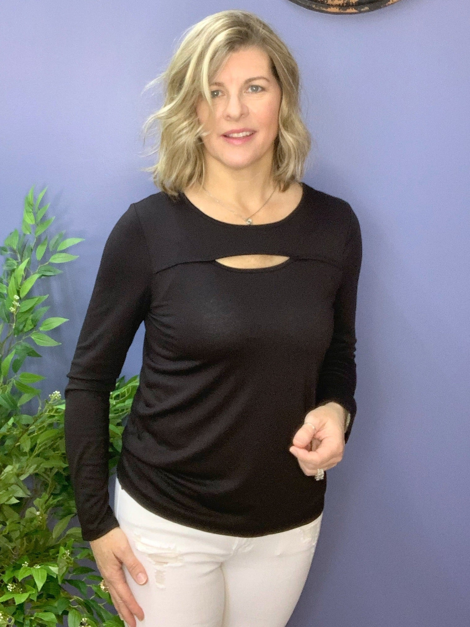 Better Than Basic - Black top with neck cut-out