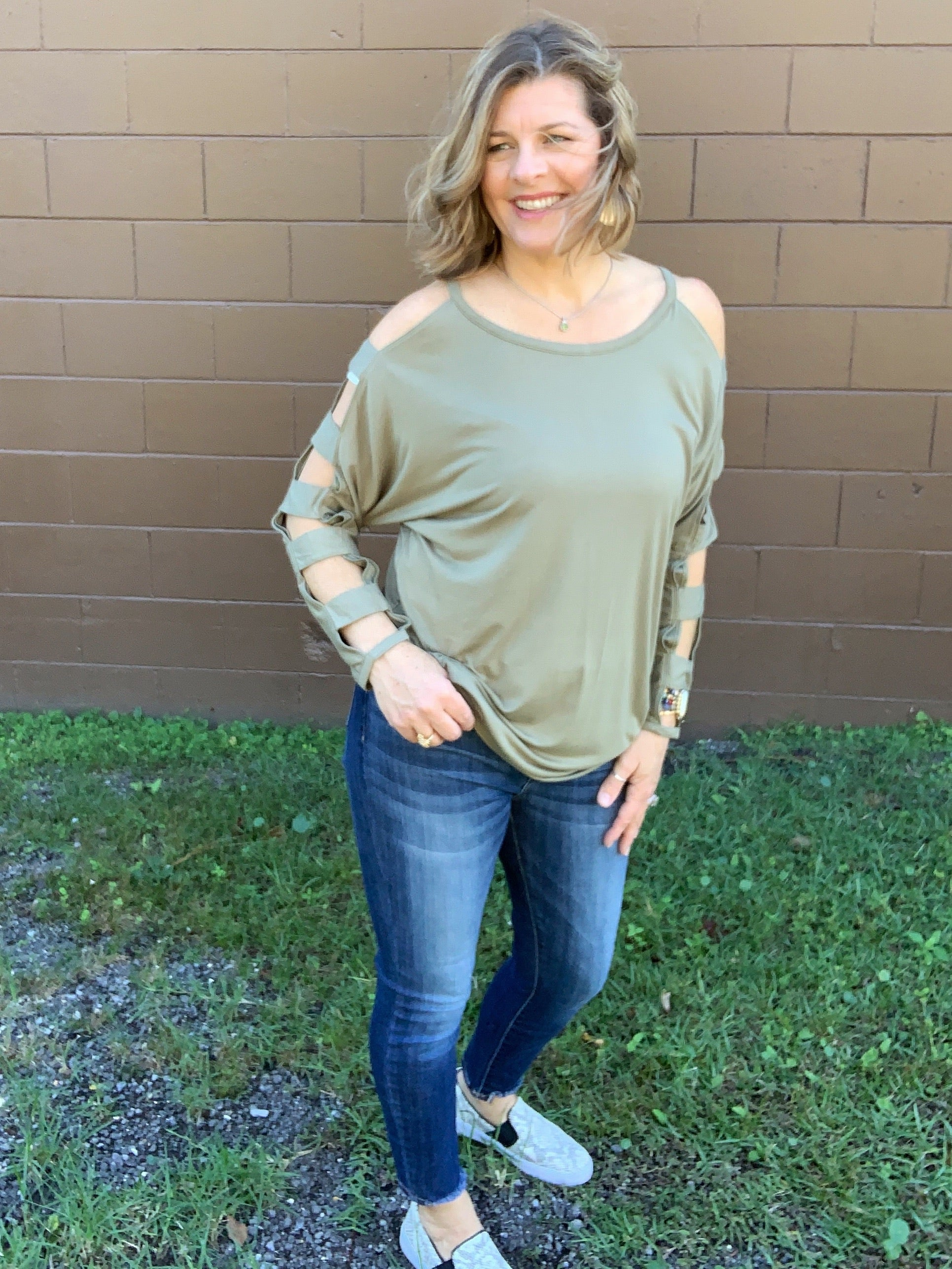 Climbing the Ladder - Ladder Sleeves / Long Sleeve Olive top